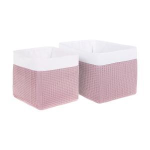 KraftKids Körbchen Waffel Piqué rosa 20 x 33 x 20 cm