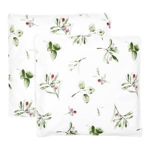 KraftKids Kissenbezug Zweige grün rot auf Weiß