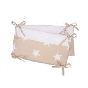 KraftKids Nestchen große weiße Sterne auf Beige und Uniweiss Nestchenlänge 60-60-60 cm für Bettgröße 120 x 60 cm