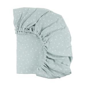 KraftKids Spannbettlaken Musselin mint Pusteblumen passend für Matratze 120 x 60 cm