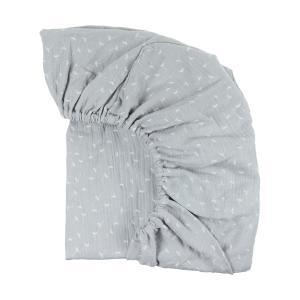 KraftKids Spannbettlaken Musselin grau Pusteblumen passend für Matratze 120 x 60 cm