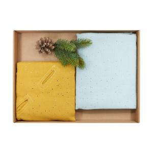 KraftKids Geschenkbox Musselin goldene Punkte auf Gelb und Musselin goldene Punkte auf Grün