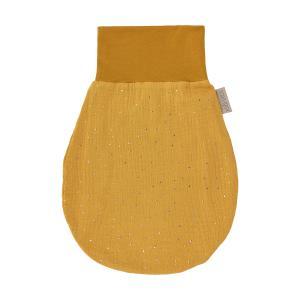 KraftKids Strampelsack Frühling Sommer Musselin goldene Punkte auf Gelb Größe 60 cm (6 bis 12 Monate)