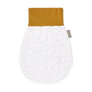KraftKids Strampelsack Herbst Winter Musselin goldene Punkte auf Weiß Größe 34 cm (0 bis 6 Monate)