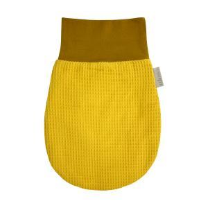 KraftKids Strampelsack Herbst Winter Waffel Piqué mustard Größe 60 cm (6 bis 12 Monate)