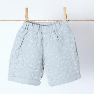 KraftKids Jungen Shorts Musselin grau Pusteblumen