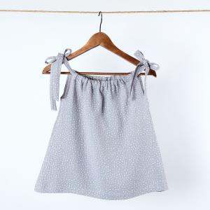 KraftKids Mädchen Kleid Musselin grau Punkte