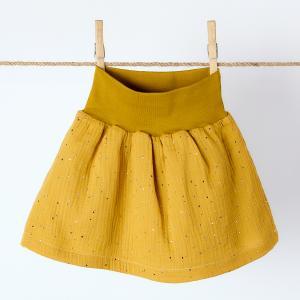 KraftKids Mädchen Rock Musselin goldene Punkte auf Gelb