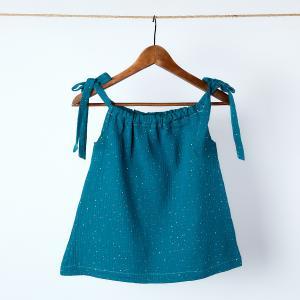 KraftKids Mädchen Kleid Musselin goldene Punkte auf Petrol