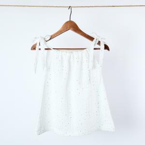 KraftKids Mädchen Kleid Musselin goldene Punkte auf Weiß
