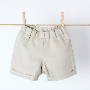 KraftKids Mädchen Shorts Leinen Natur Braun