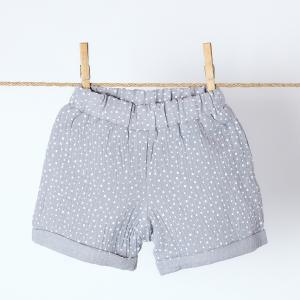 KraftKids Mädchen Shorts Musselin grau Punkte
