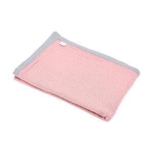 KraftKids Tagesdecke Musselin grau Punkte und Musselin rosa Punkte