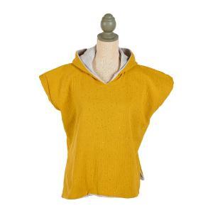 KraftKids Badeponcho Musselin goldene Punkte auf Gelb
