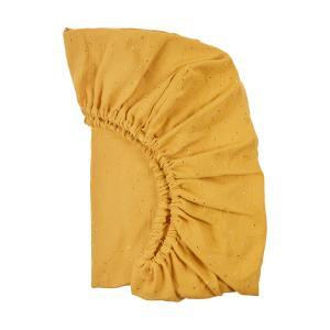 KraftKids Spannbettlaken Musselin goldene Punkte auf Gelb passend für Matratze 90 x 200 cm