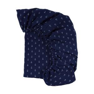 KraftKids Spannbettlaken Musselin dunkelblau Anker passend für Matratze 90 x 200 cm