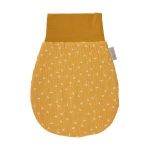 KraftKids Strampelsack Herbst Winter Musselin gelb Pusteblumen Größe 80 cm (12 bis 18 Monate)