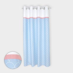 KraftKids Gardinen Uniweiss und weiße Halbkreise auf Pastelblau Länge: 170 cm