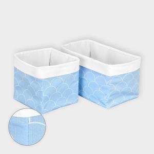 KraftKids Körbchen Uniweiss und weiße Halbkreise auf Pastelblau 20 x 33 x 20 cm