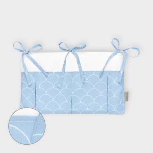 KraftKids Betttasche weiße Halbkreise auf Pastelblau