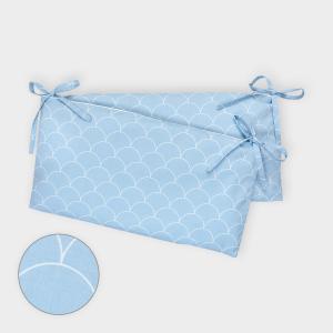 KraftKids Nestchen weiße Halbkreise auf Pastelblau Nestchenlänge 60-60-60 cm für Bettgröße 120 x 60 cm
