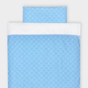 KraftKids Bettwäscheset Uniweiss und weiße Halbkreise auf Pastelblau 140 x 200 cm, Kissen 80 x 80 cm
