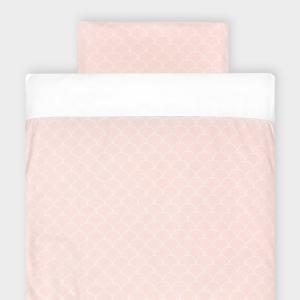 KraftKids Bettwäscheset Uniweiss und weiße Halbkreise auf Pastelrosa 100 x 135 cm, Kissen 40 x 60 cm