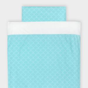 KraftKids Bettwäscheset Uniweiss und weiße Halbkreise auf Pastelmint 140 x 200 cm, Kissen 80 x 80 cm