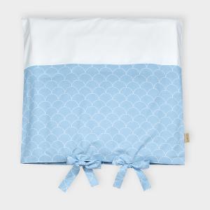 KraftKids Bezug für Wickeltischauflage weiße Halbkreise auf Pastelblau