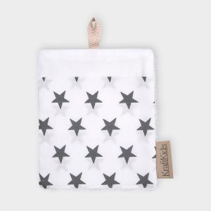 KraftKids Waschlappen kleine graue Sterne auf Weiss