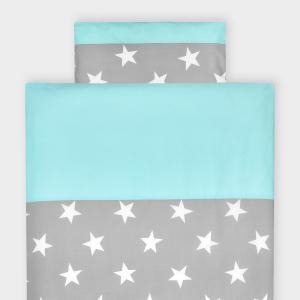 KraftKids Bettwäscheset große weiße Sterne auf Grau und weiße Punkte auf Mint 100 x 135 cm, Kissen 40 x 60 cm