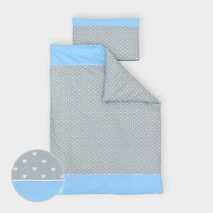 miniFifia Bettwäscheset weiße Herzen auf Grau und Unihellblau 100 x 135 cm, Kissen 40 x 60 cm