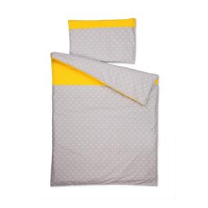 KraftKids Bettwäscheset weiße Anker auf Grau und weiße Punkte auf Gelb 100 x 135 cm, Kissen 40 x 60 cm
