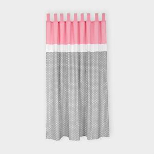 miniFifia Gardinen weiße Herzen auf Grau und Unirosa Inhalt: 2 Schals