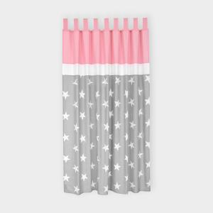 miniFifia Gardinen große weiße Sterne auf Grau und Unirosa Inhalt: 2 Schals