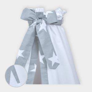 miniFifia Betthimmel große weiße Sterne auf Grau