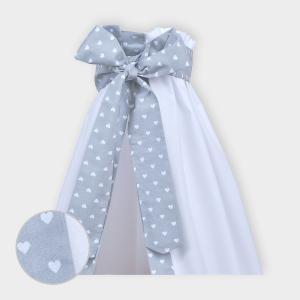 miniFifia Betthimmel weiße Herzen auf Grau