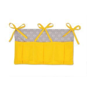 KraftKids Betttasche weiße Anker auf Grau und weiße Punkte auf Gelb