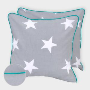 miniFifia Kissenbezug große weiße Sterne auf Grau