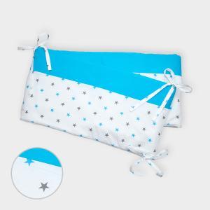 miniFifia Nestchen graue blaue Sterne auf Weiss und Unitürkis Nestchenlänge 60-60-60 cm für Bettgröße 120 x 60 cm
