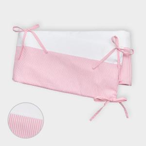 miniFifia Nestchen Uniweiss und Streifen rosa Nestchenlänge 60-60-60 cm für Bettgröße 120 x 60 cm