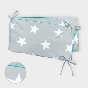 miniFifia Nestchen große weiße Sterne auf Grau Nestchenlänge 60-70-60 cm für Bettgröße 140 x 70 cm
