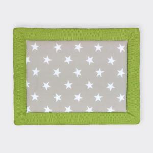 KraftKids Krabbeldecke große weiße Sterne auf Beige und weiße Punkte auf Grün