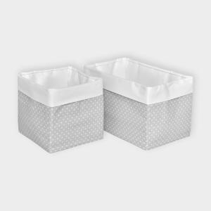 KraftKids Körbchen Uniweiss und weiße Punkte auf Grau 20 x 33 x 20 cm