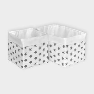 KraftKids Körbchen Uniweiss und kleine graue Sterne auf Weiss 20 x 33 x 20 cm