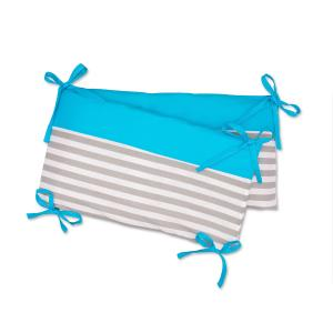 KraftKids Nestchen Unitürkis und dicke Streifen grau Nestchenlänge 60-60-60 cm für Bettgröße 120 x 60 cm