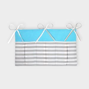 KraftKids Betttasche Unitürkis und dicke Streifen grau
