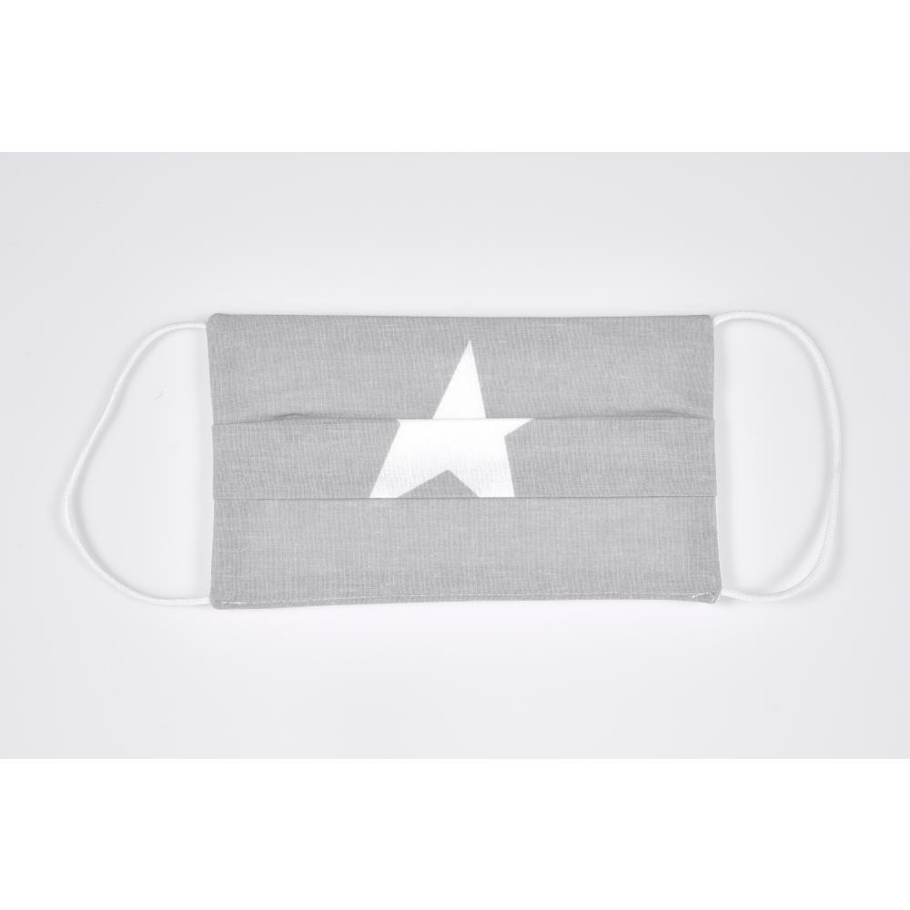 KraftKids Gesichtsmaske große weiße Sterne auf Grau