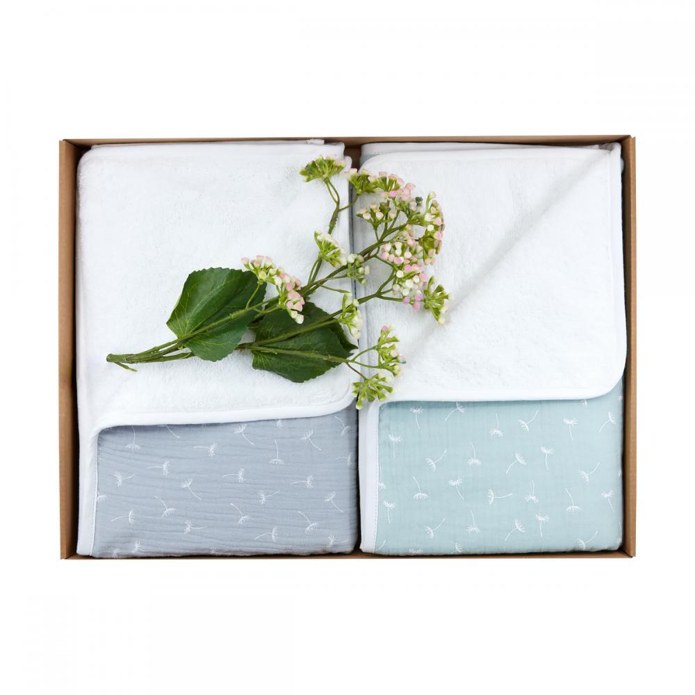 KraftKids Geschenkbox Musselin grau Pusteblumen und Musselin mint Pusteblumen
