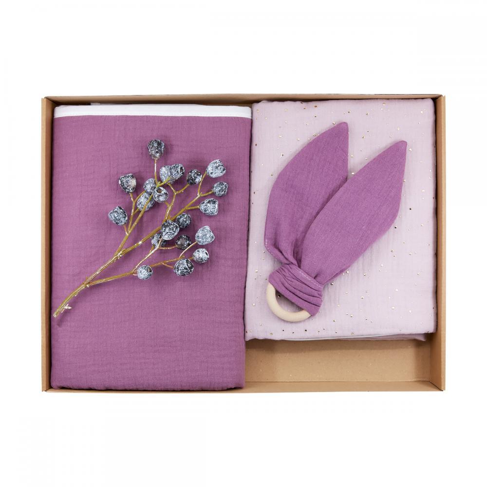 KraftKids Geschenkbox Musselin goldene Punkte auf Rosa und Musselin purpur